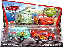 Race Team Fillmore (variant), Lightning McQueen with Travel Wheels - Movie Moments