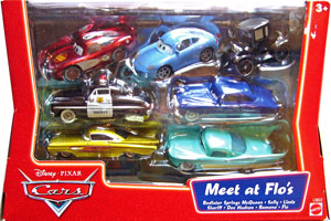 Lizzie, Radiator Springs McQueen, Sally, Sheriff, Doc Hudson, Ramone (yellow), Flo - 7 Pack
