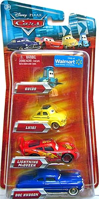 Walmart 4 Pack - Luigi, Lightning McQueen (with Rusteze sticker), Guido, Doc Hudson