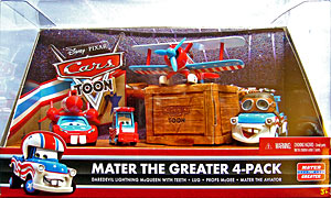 Mater the Aviator, Daredevil Ligthning McQueen with Teeth, Lug (Mater Aviator variant), Props McGee - Pack de 4