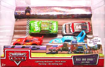 Re-Volting, Lightning McQueen (without Rusteze sticker), Chick Hicks, The King - 4 Pack