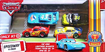 RPM #64, Lightning McQueen (with Rusteze sticker), The King, Trunk Fresh - 4 Pack