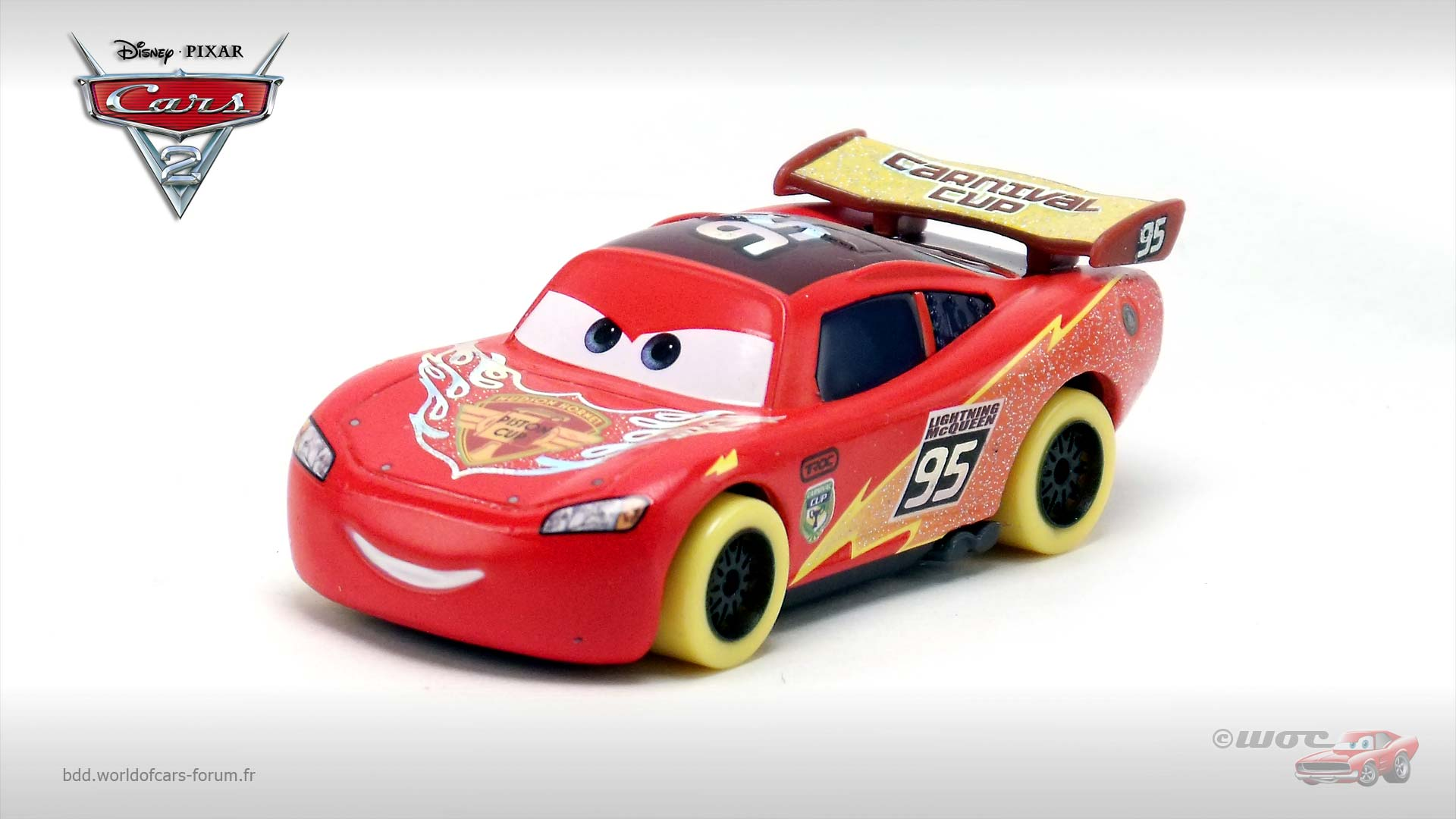 Lightning McQueen (yellow wheels variant, Carnival Cup)